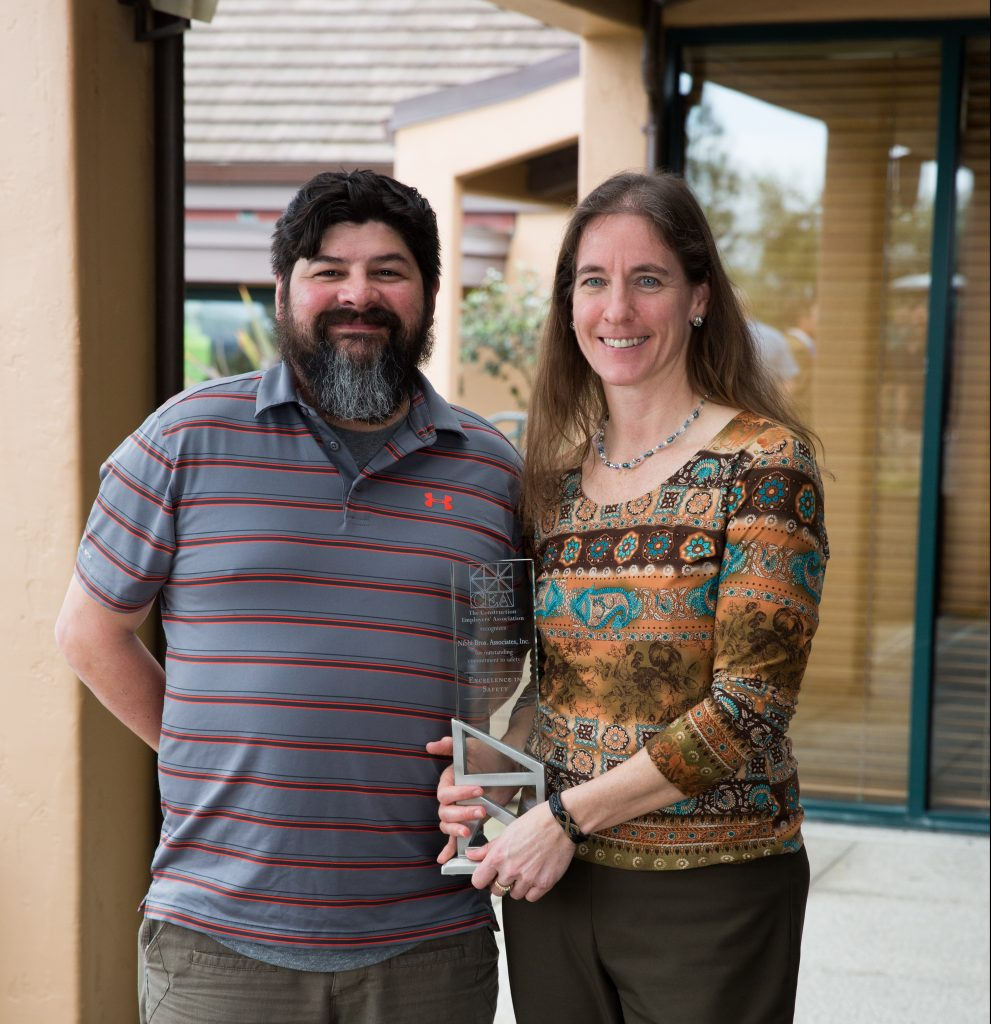 Nibbi Safety Director, Cassie Hilaski, and Safety Manager, Robert Ortiz, received the award on Nibbi's behalf at the awards luncheon at the Contra Costa Country Club.
